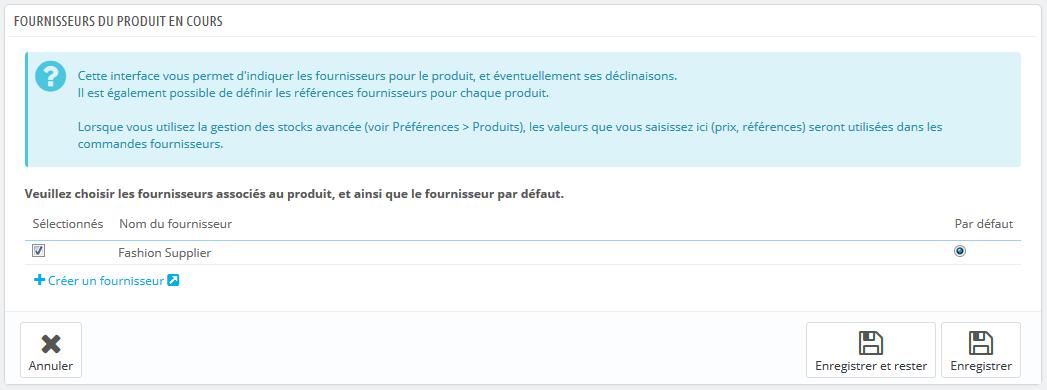 Vous ne pouvez pas utiliser cette fonction si vous ne possédez pas déjà au  moins un fournisseur enregistré dans votre boutique. Les fournisseurs sont  créés ... 8b075e60c295