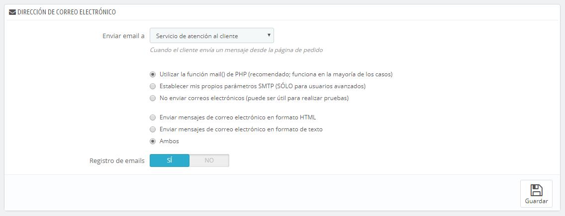 Parámetros de Correo electrónico - PrestaShop 1.6 - PrestaShop ...