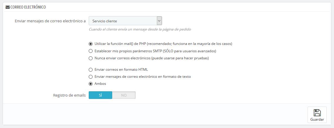 Correo electrónico - PrestaShop 1.7 - PrestaShop documentation