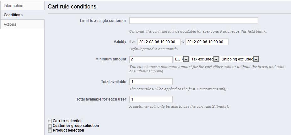 Creating Price Rules And Vouchers - Prestashop 1.5 - Prestashop